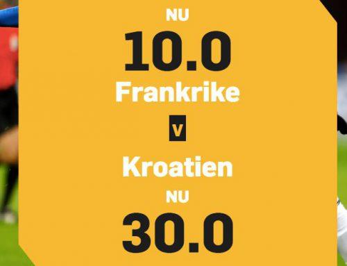 Få oddset 10.00 på Frankrike eller 30.00 på Kroatien!