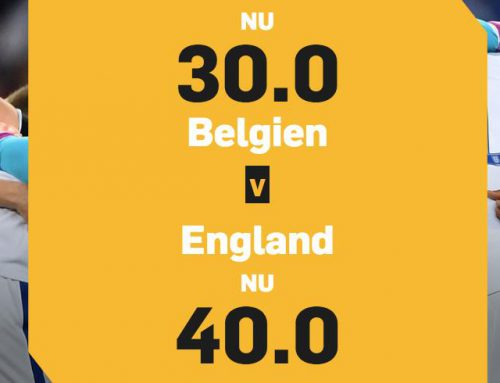 Få 30.00 i odds på Belgien eller 40.00 i odds på England!