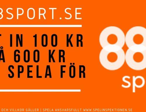 Välkomstbonus hos 888sport: Sätt in 100 kr – Få 600 kr att spela för!