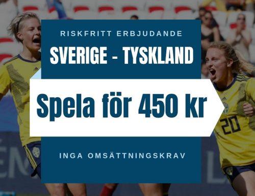 Riskfritt 29/6 (Dam-VM): Spela riskfritt på Sverige-Tyskland i kvartsfinalen!