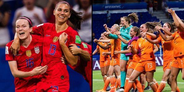 USA och Nederländnera i fotbolls vm finalen 2019