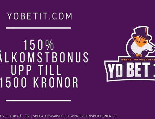 Välkomstbonus: 150% upp till 1500 kr hos Yo Bet it
