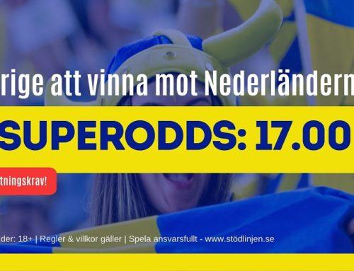 Superodds 2/7 (Dam-VM): 17 i odds på Sverige eller 12 på Nederländerna