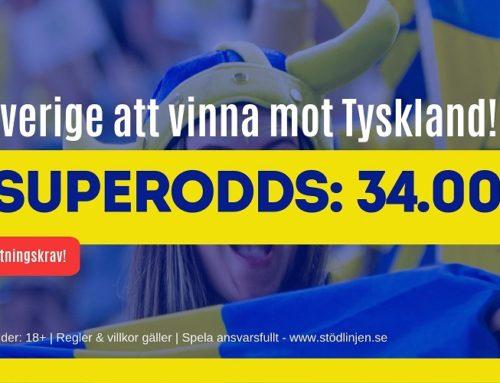 Superodds 29/6 (Dam-VM): 34 i odds på Sverige eller 10 på Tyskland